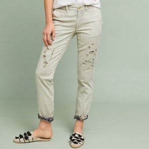 Anthropologie CHINO Relaxed floral patch pants